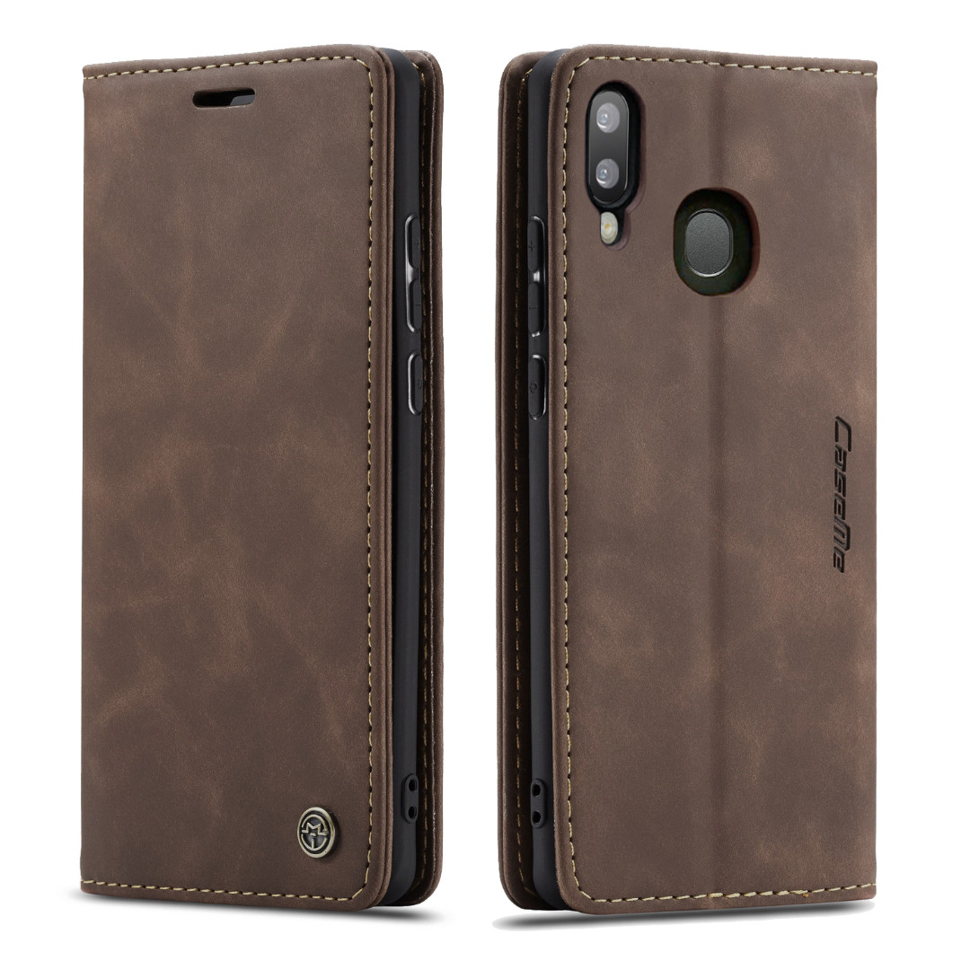 Husa slim piele, tip portofel, stand, inchidere magnetica, textura catifelata,  Samsung Galaxy A30 / A20 - CaseMe, Maro coffee