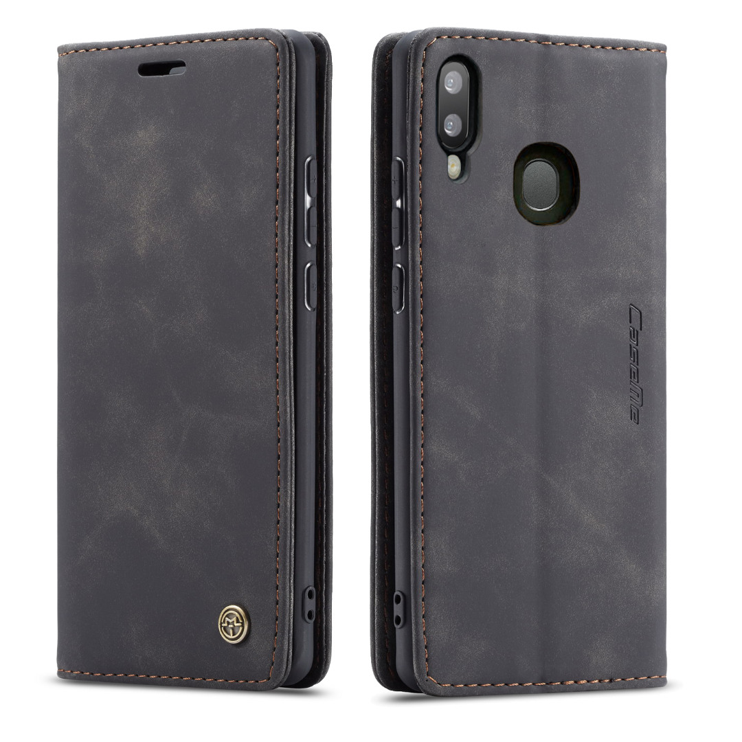 Husa slim piele, tip portofel, stand, inchidere magnetica, textura catifelata, Samsung Galaxy A30 / A20 - CaseMe, Negru