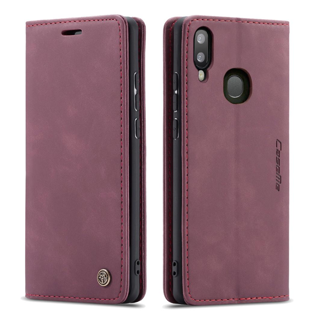 Husa slim piele, tip portofel, stand, inchidere magnetica, textura catifelata,  Samsung Galaxy A30 / A20 - CaseMe, Visiniu