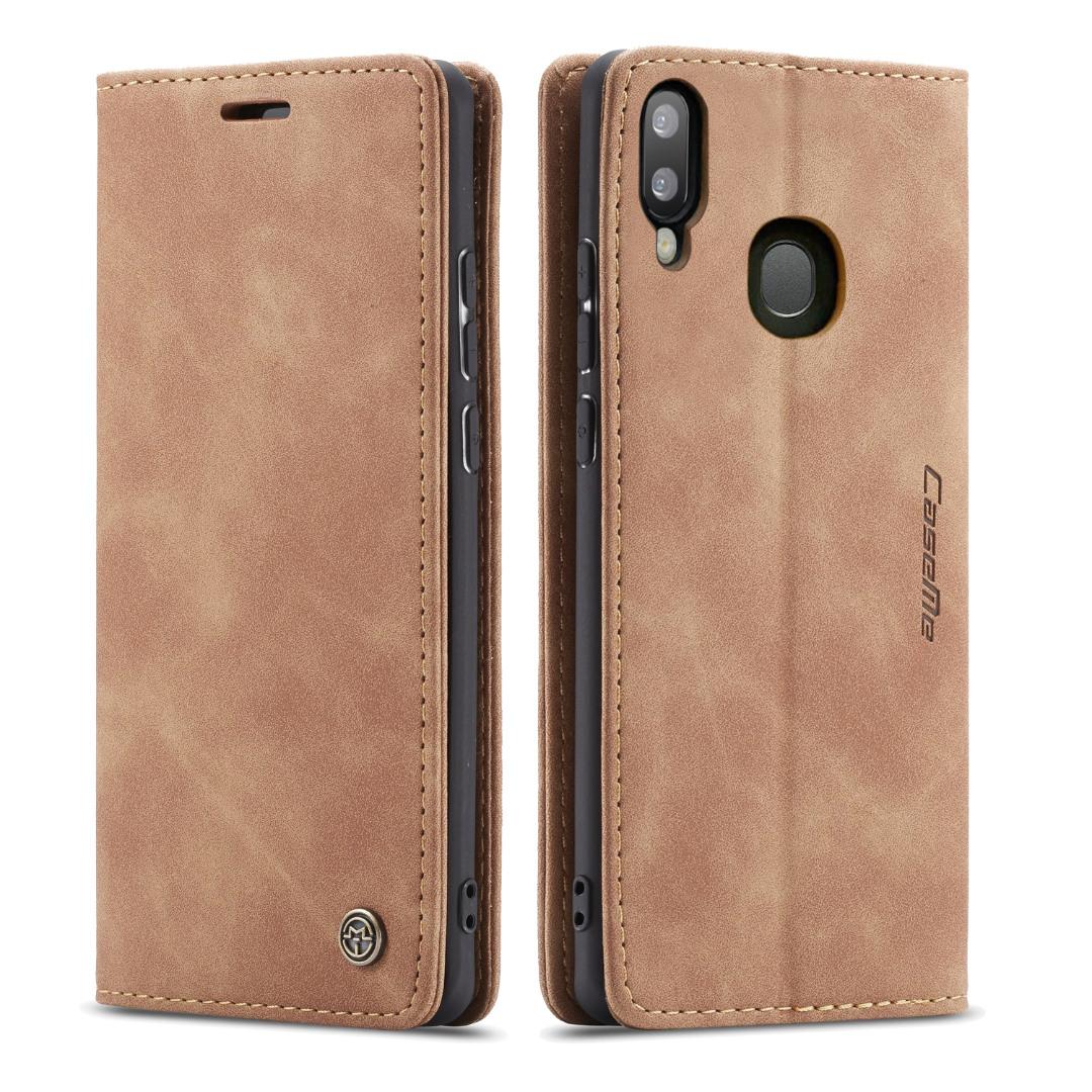Husa slim piele, tip portofel, stand, inchidere magnetica, textura catifelata,  Samsung Galaxy A40 - CaseMe, Maro