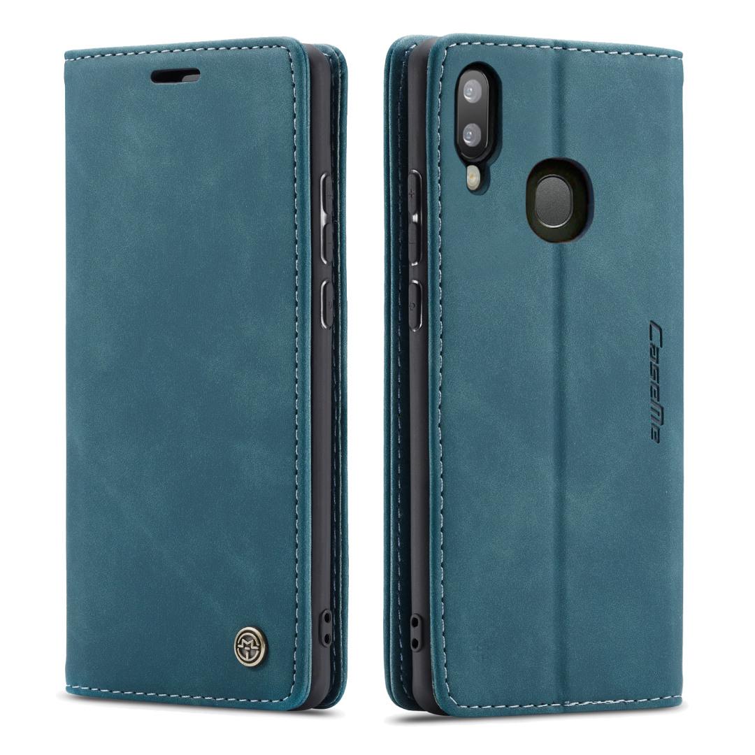 Husa slim piele, tip portofel, stand, inchidere magnetica, textura catifelata,  Samsung Galaxy A40 - CaseMe, Albastru inchis