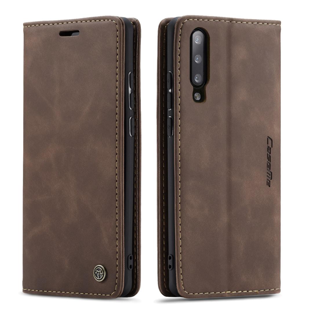 Husa slim piele, tip portofel, stand, inchidere magnetica, textura catifelata,  Samsung Galaxy A50 / A30S - CaseMe, Maro coffee