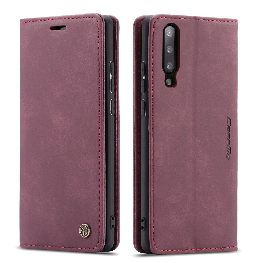 Husa slim piele, tip portofel, stand, inchidere magnetica, textura catifelata,  Samsung Galaxy A70 - CaseMe, Visiniu