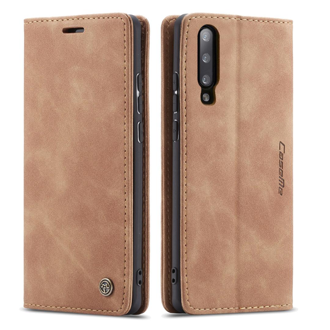 Husa slim piele, tip portofel, stand, inchidere magnetica, textura catifelata,  Samsung Galaxy A70 - CaseMe, Maro