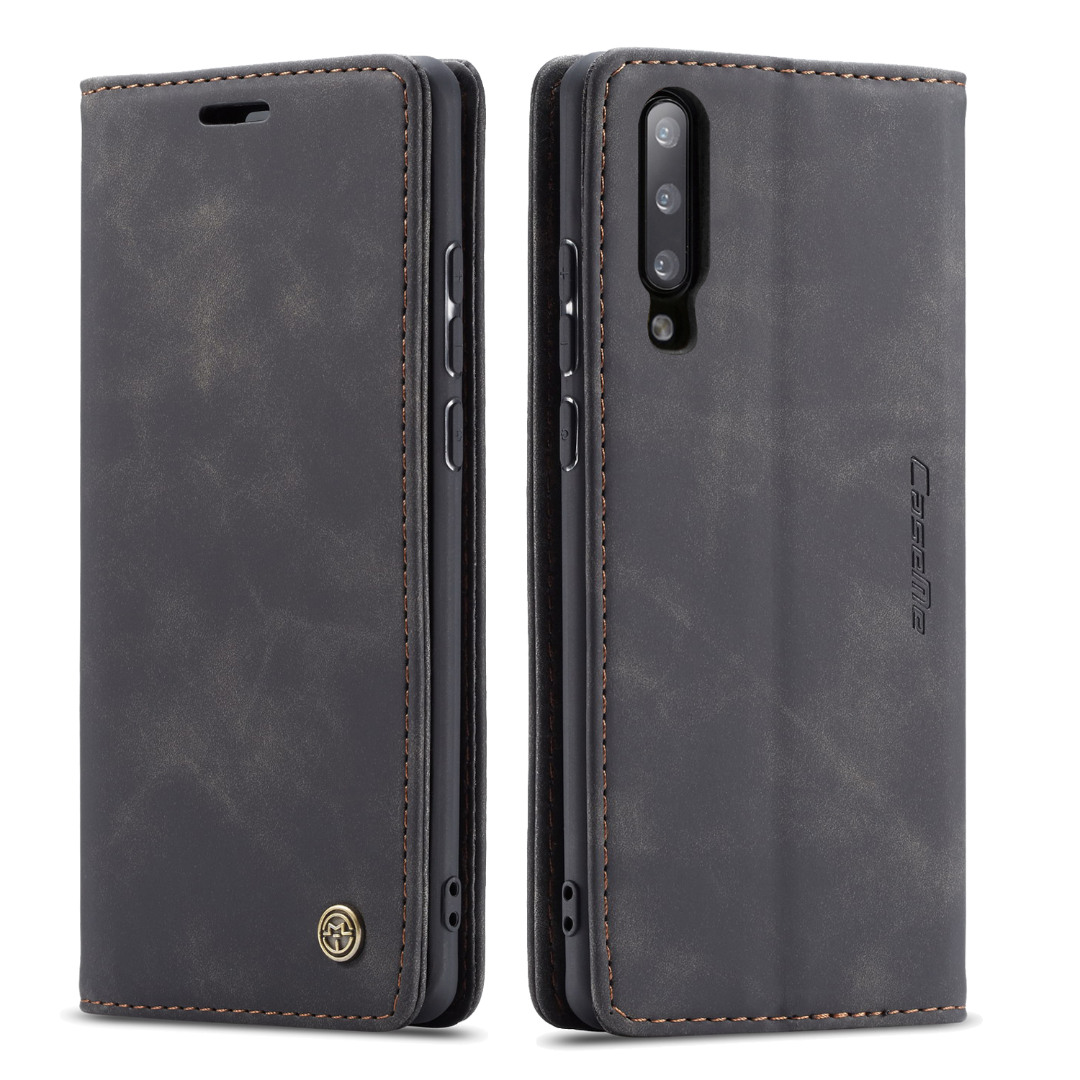 Husa slim piele, tip portofel, stand, inchidere magnetica, textura catifelata, Samsung Galaxy A70 - CaseMe, Negru