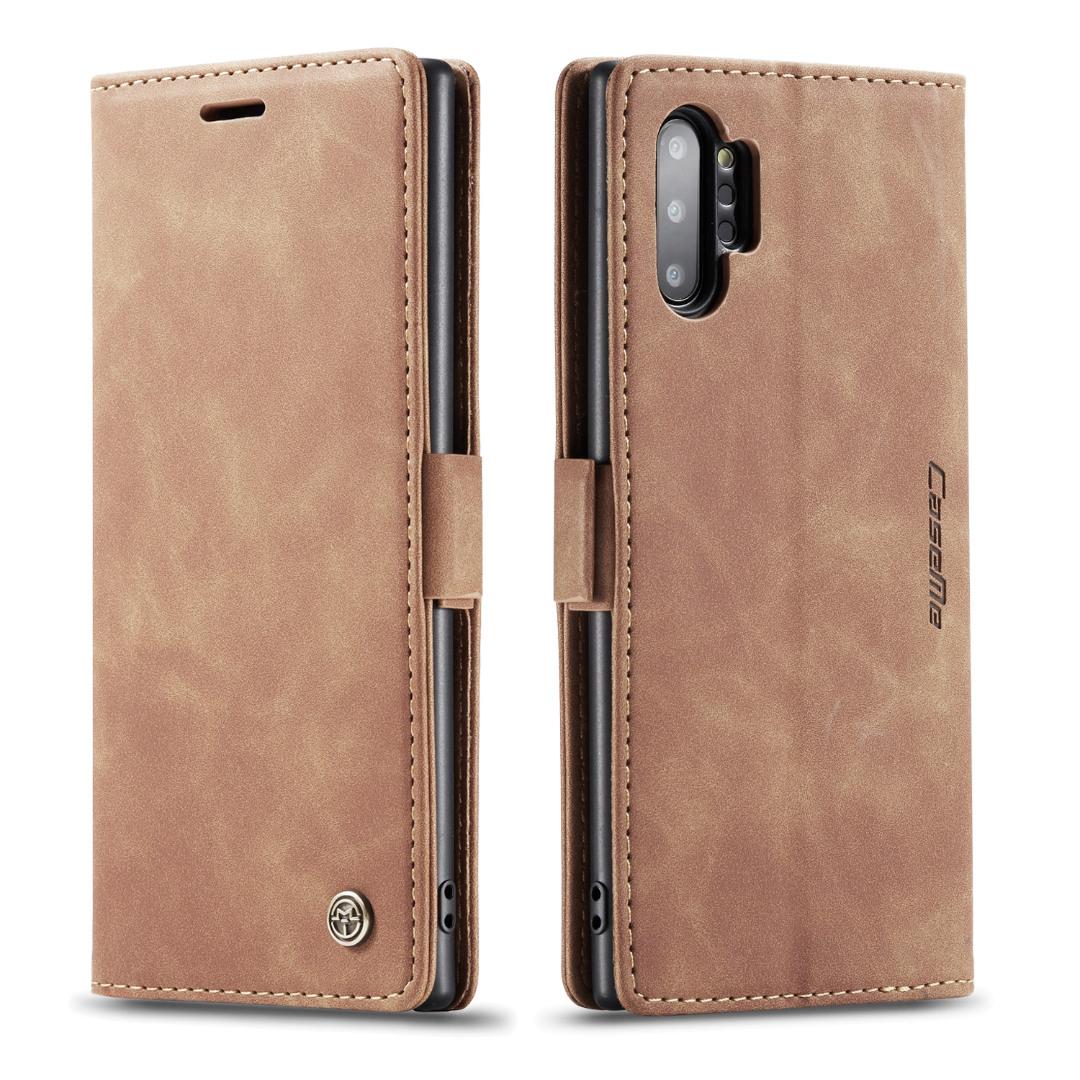 Husa slim piele, tip portofel, stand, inchidere magnetica, textura catifelata,  Samsung Galaxy Note 10 Plus - CaseMe, Maro