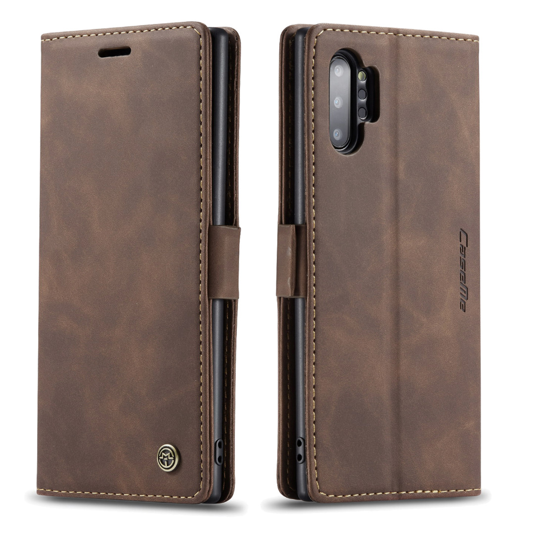 Husa slim piele, tip portofel, stand, inchidere magnetica, textura catifelata,  Samsung Galaxy Note 10 Plus - CaseMe, Maro coffee