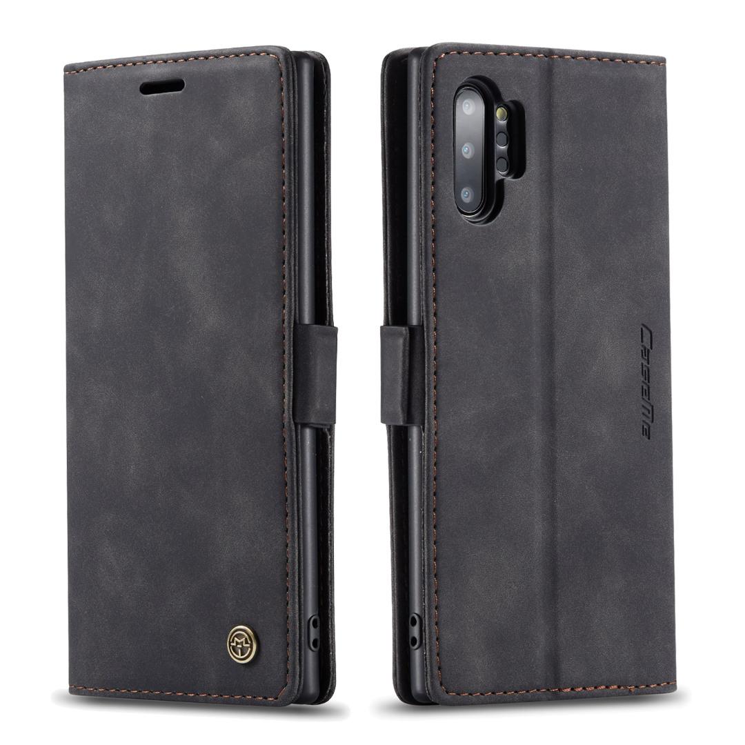Husa slim piele, tip portofel, stand, inchidere magnetica, textura catifelata, Samsung Galaxy Note 10 Plus - CaseMe, Negru