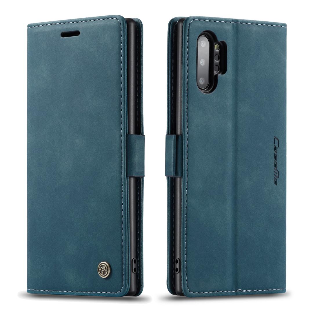 Husa slim piele, tip portofel, stand, inchidere magnetica, textura catifelata,  Samsung Galaxy Note 10 Plus - CaseMe, Albastru inchis