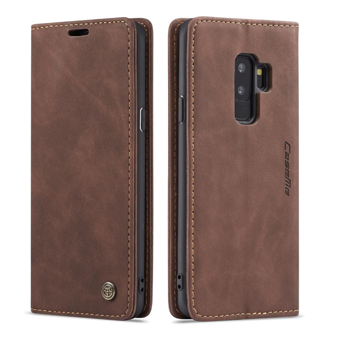 Husa slim piele, tip portofel, stand, inchidere magnetica, textura catifelata, Samsung Galaxy S9 Plus - CaseMe, Maro coffee