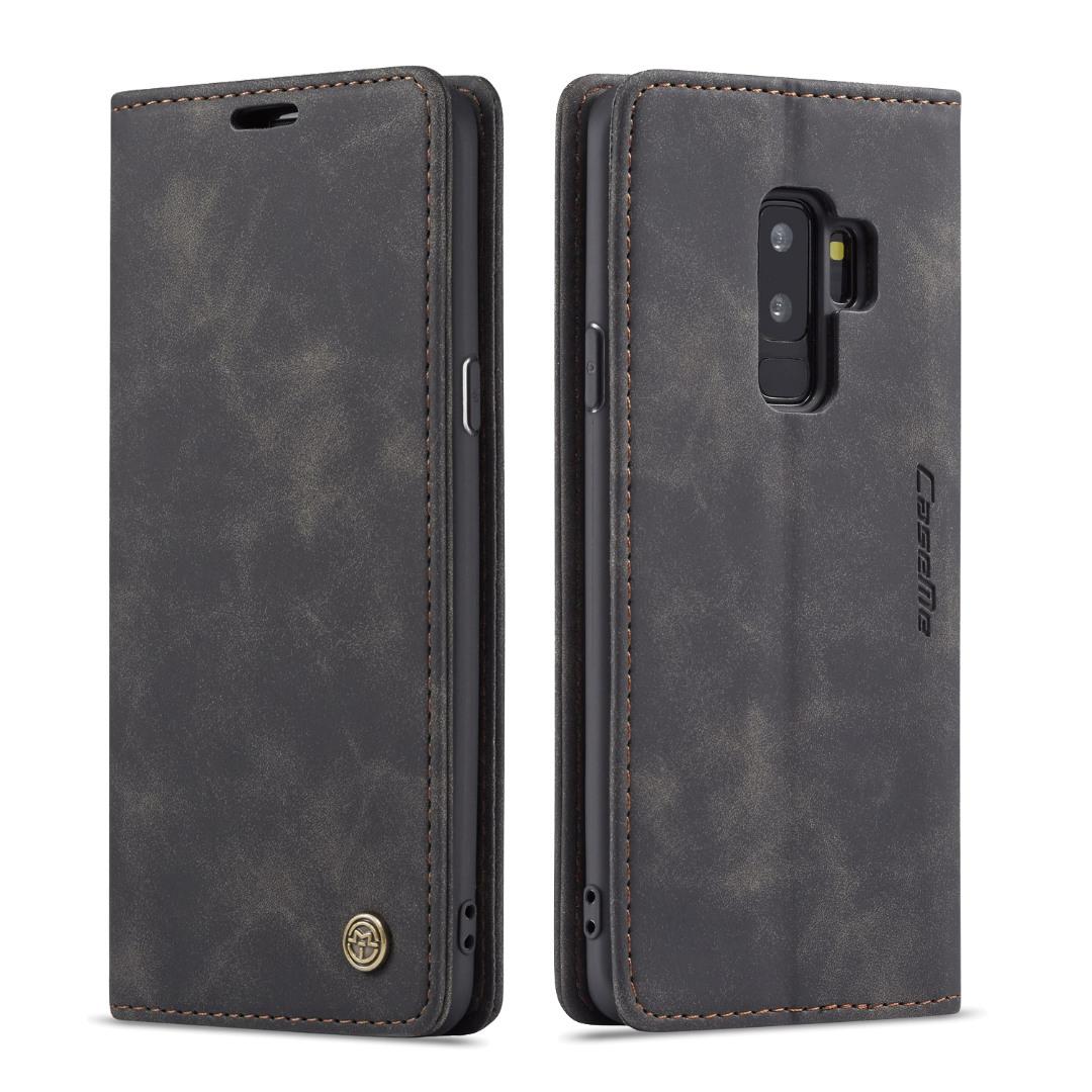 Husa slim piele, tip portofel, stand, inchidere magnetica, textura catifelata, Samsung Galaxy S9 Plus - CaseMe, Negru