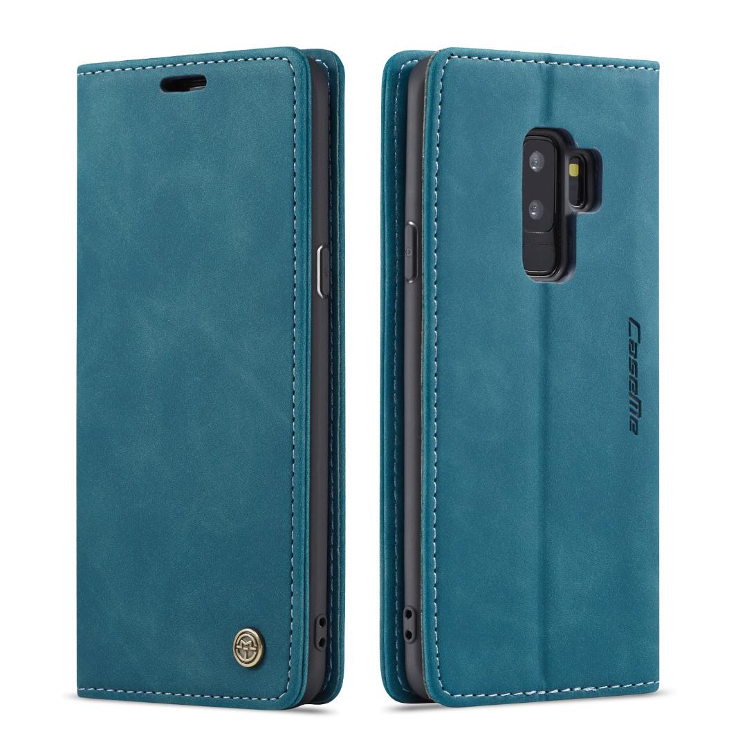 Husa slim piele, tip portofel, stand, inchidere magnetica, textura catifelata, Samsung Galaxy S9 Plus - CaseMe, Albastru