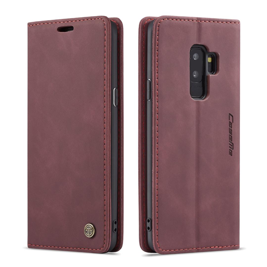 Husa slim piele, tip portofel, stand, inchidere magnetica, textura catifelata, Samsung Galaxy S9 Plus - CaseMe, Visiniu