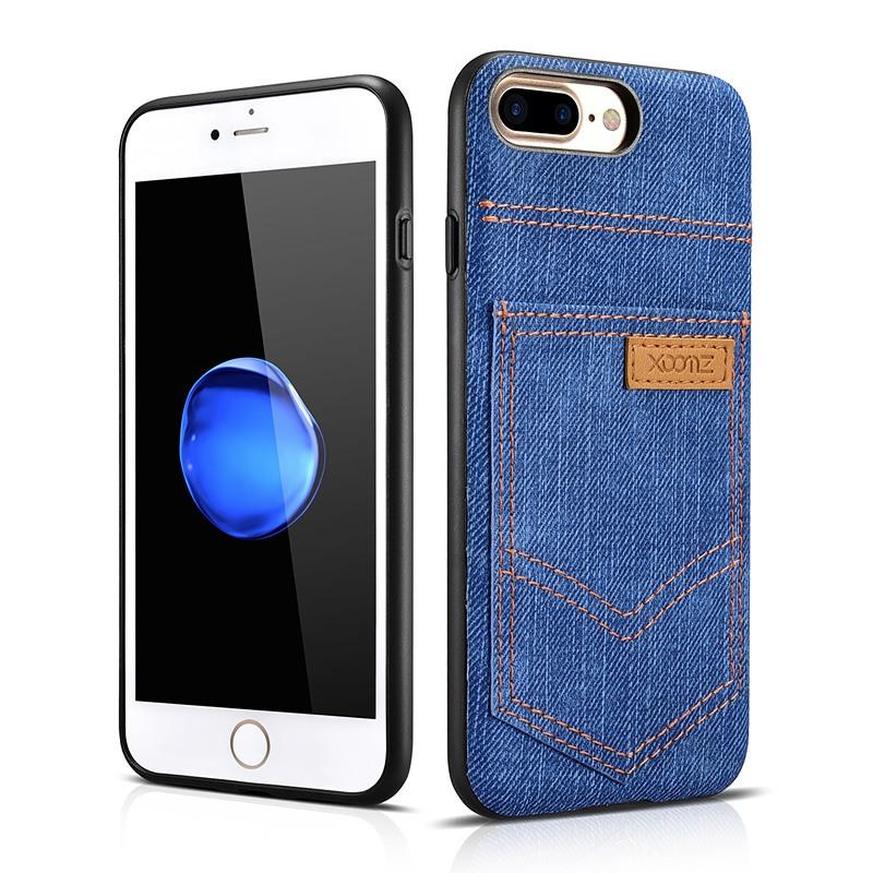 Husa slim din piele vegetala, cu locas pentru card, iPhone 8 Plus / 7 Plus - Xoomz by iCarer Jeans, Albastru