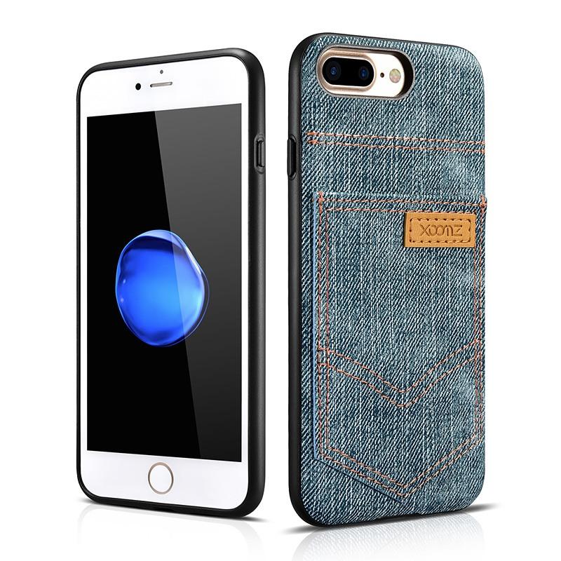 Husa slim din piele vegetala, cu locas pentru card, iPhone 8 Plus / 7 Plus - Xoomz by iCarer Jeans, Albastru verzui