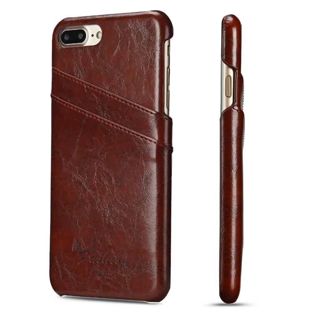 Husa slim din piele fina cu textura vintage, tip back cover, iPhone 8 Plus / 7 Plus, Maro coniac
