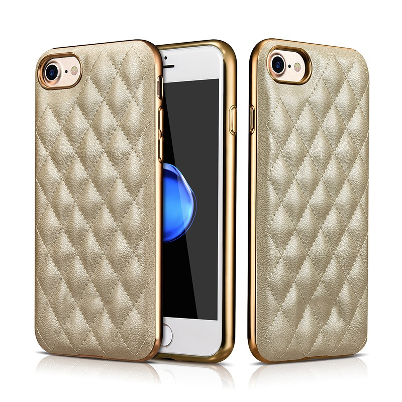 Husa piele cusuta, tip back cover, iPhone 8 / iPhone 7 - Xoomz by iCarer Check Series, Gold