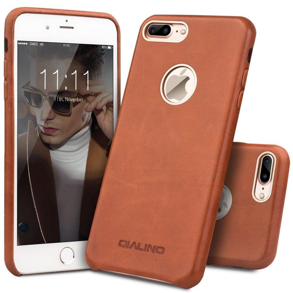 Husa din piele naturala de vitel, tip back cover, iPhone 7 Plus - Qialino, Maro tabac