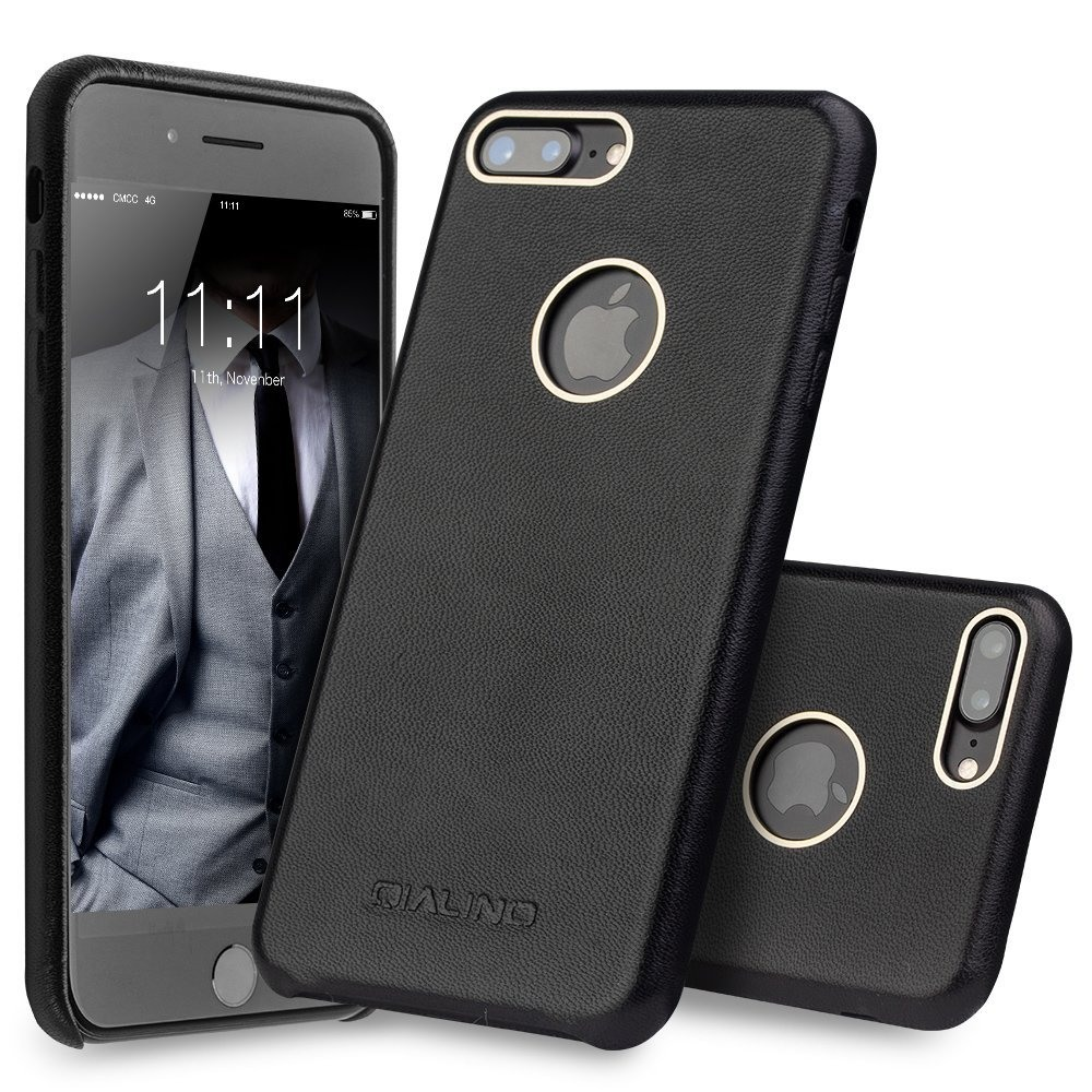 Husa din piele naturala de vitel, tip back cover, iPhone 7 Plus - Qialino, Negru