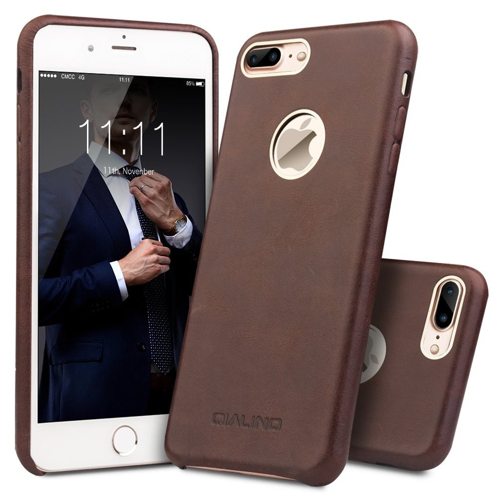 Husa din piele naturala de vitel, tip back cover, iPhone 7 Plus - Qialino, Maro coffee