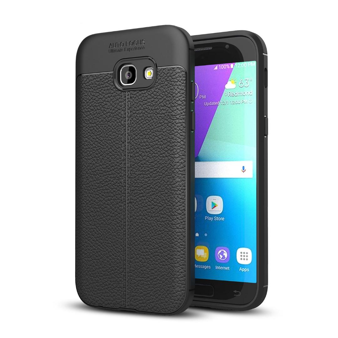 Husa silicon + TPU cu model piele, back cover, Samsung Galaxy A7 (2017) - CaseME, Negru