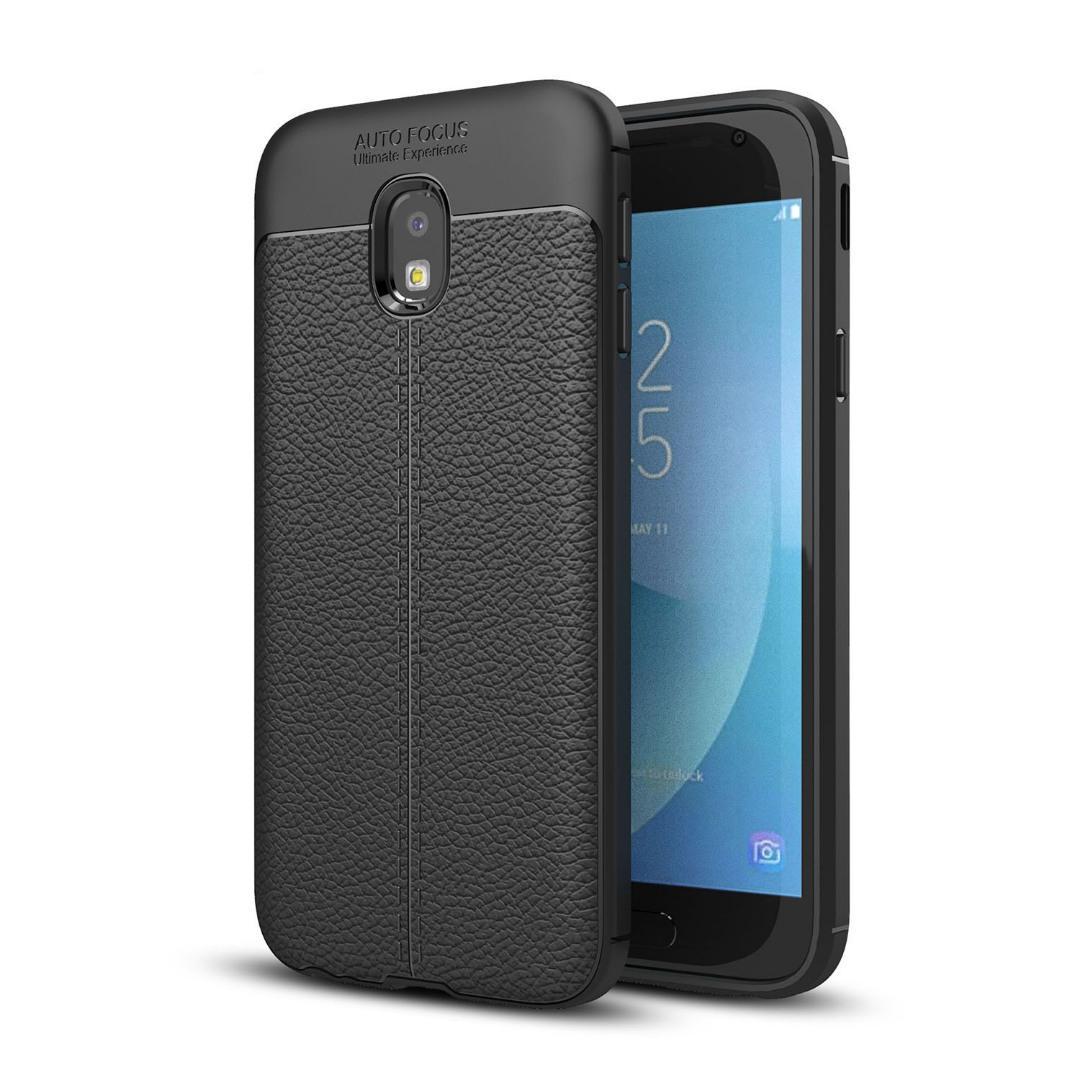 Husa silicon + TPU cu model piele, back cover, Samsung Galaxy J3 (2017) - CaseME, Negru