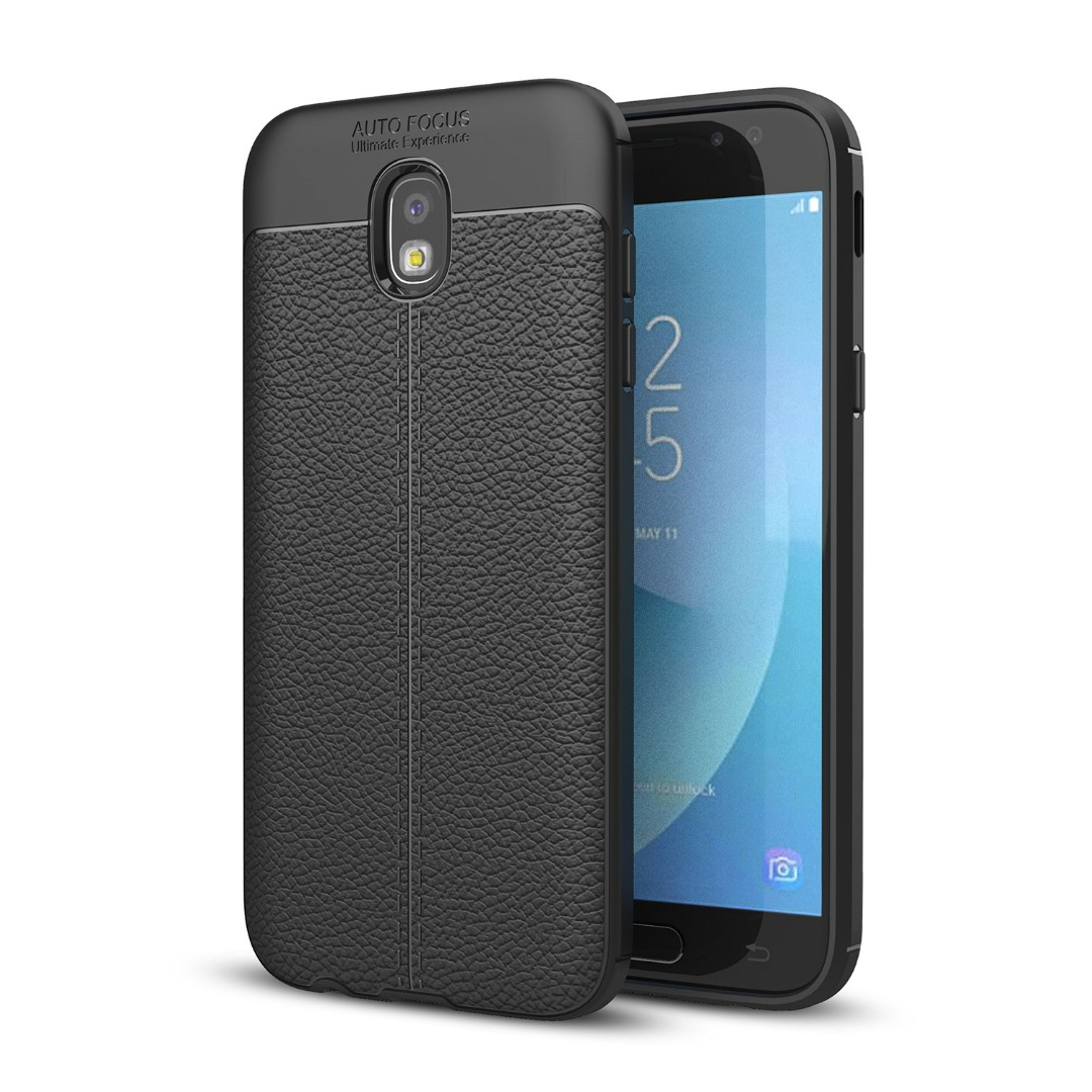 Husa silicon + TPU cu model piele, back cover, Samsung Galaxy J7 (2017) - CaseME, Negru
