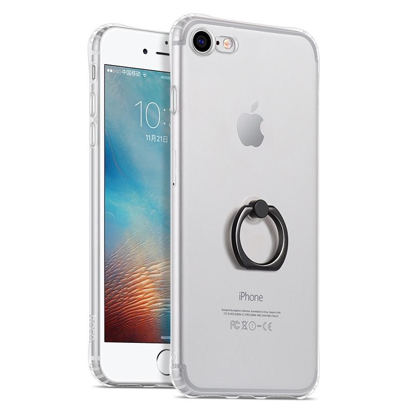 Husa protectie gel TPU si inel de sustinere, iPhone SE 2 (2020), iPhone 8, iPhone 7 - Hoco Metal Finger, Negru