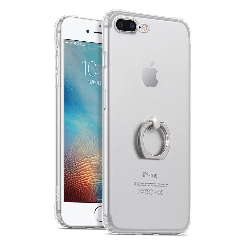 Husa protectie gel TPU si inel de sustinere, iPhone 8 Plus / 7 Plus - Hoco Metal Finger, Silver