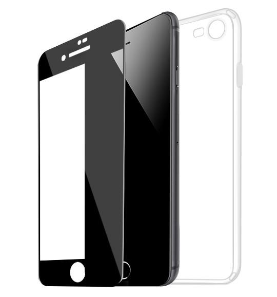 Set husa slim gel TPU + folie din sticla securizata, iPhone 6 / 6s, Negru