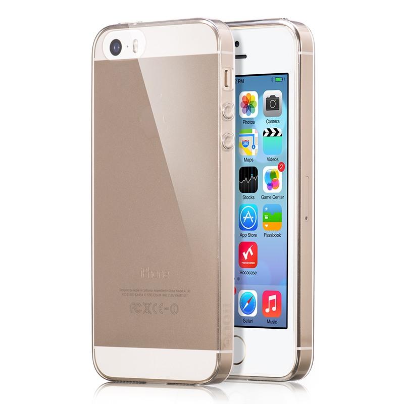 Husa ultra slim TPU, back cover, iPhone SE / 5 / 5s, HOCO Light, negru transparent
