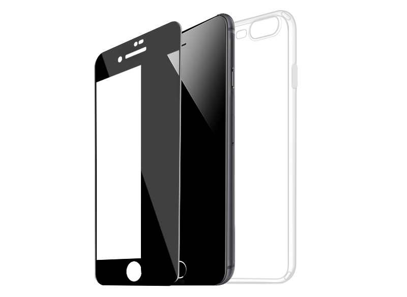 Set husa slim gel TPU + folie din sticla securizata, iPhone 8 Plus / 7 Plus - Hoco, Negru
