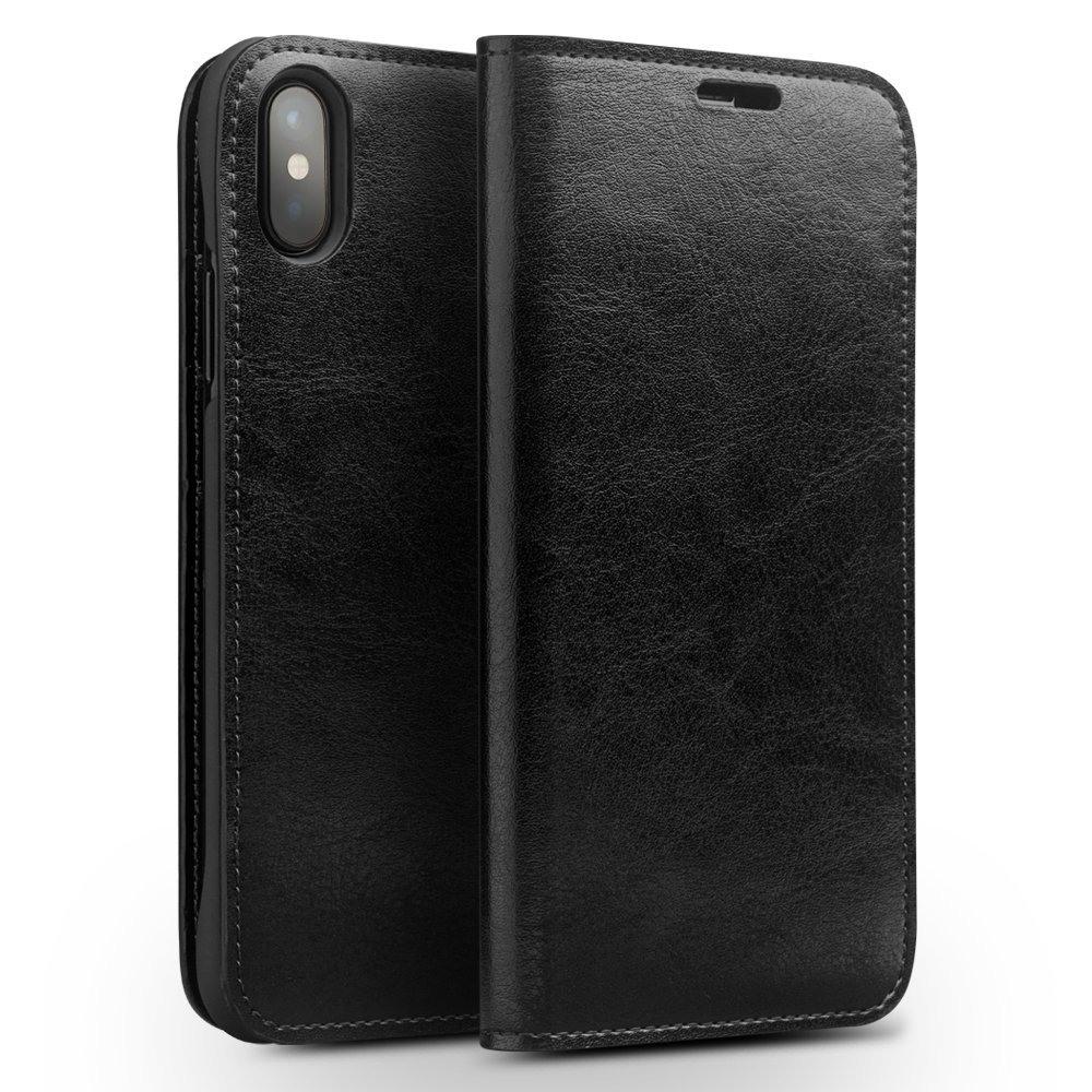 Husa din piele fina tip carte, cu buzunare carduri si bani, iPhone X / XS - Qialino Classic Wallet, Negru