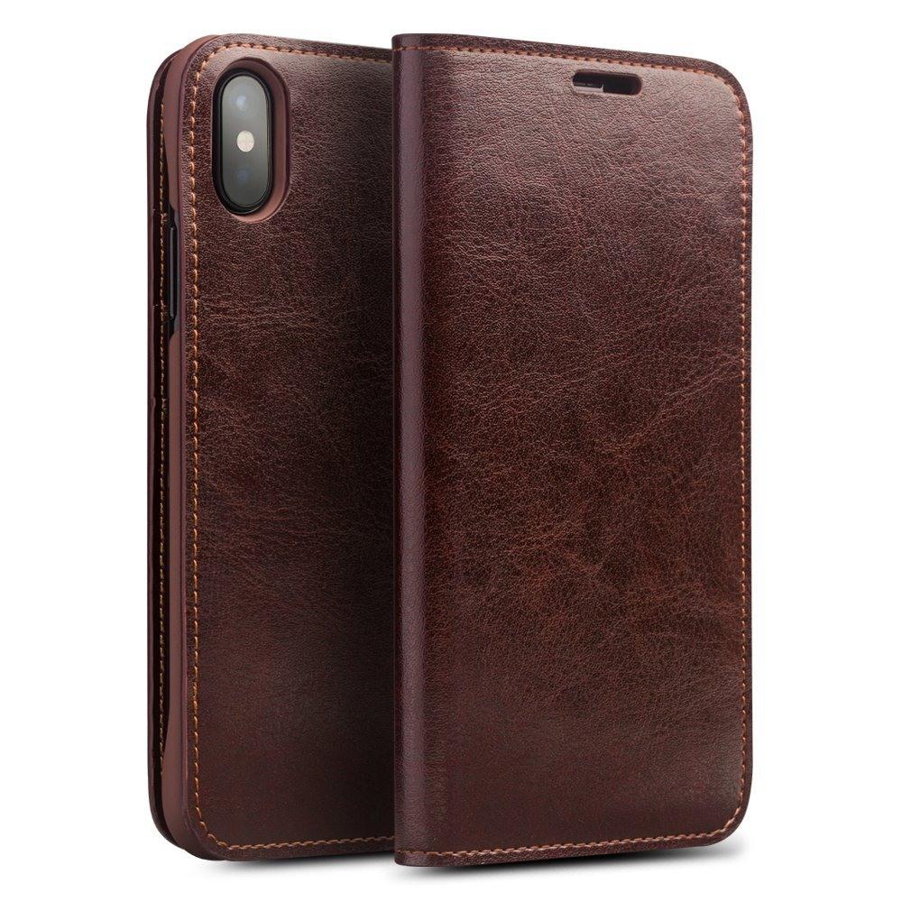 Husa din piele fina tip carte, cu buzunare carduri si bani, iPhone X / XS - Qialino Classic Wallet, Maro coffee