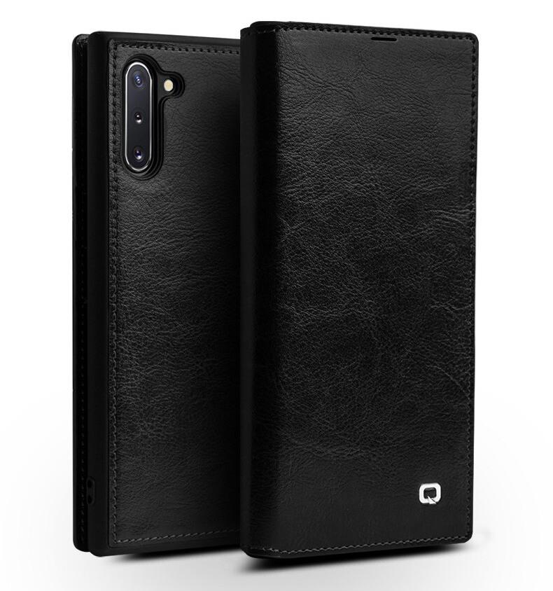 Husa slim din piele fina naturala tip carte, cu buzunar card, Samsung Galaxy Note 10 - Qialino, Negru
