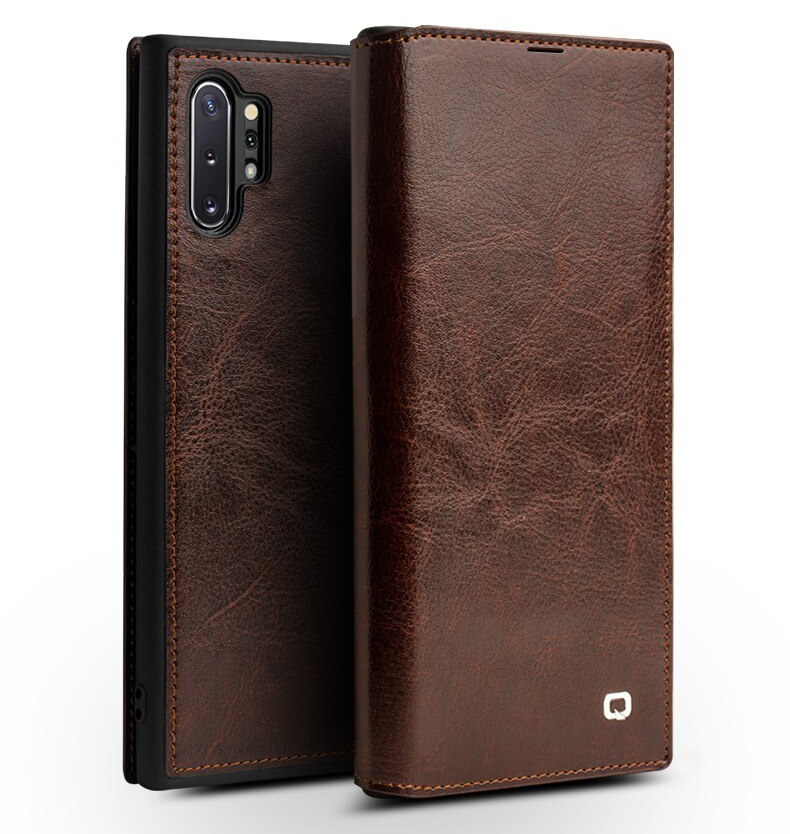Husa slim din piele fina naturala tip carte, cu buzunar card, Samsung Galaxy Note 10 Plus - Qialino, Maro coffee