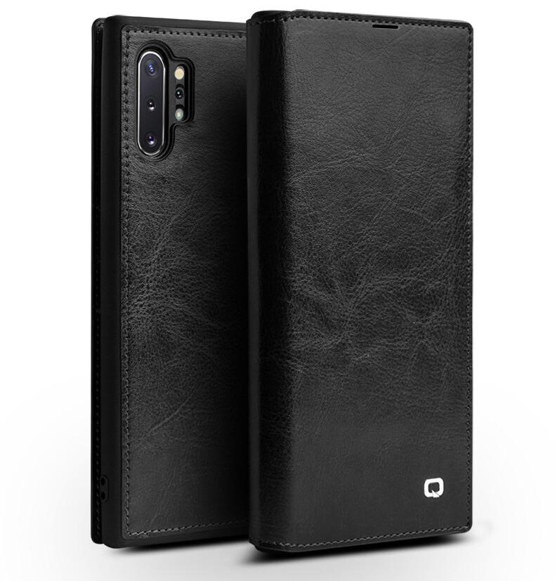 Husa slim din piele fina naturala tip carte, cu buzunar card, Samsung Galaxy Note 10 Plus - Qialino, Negru