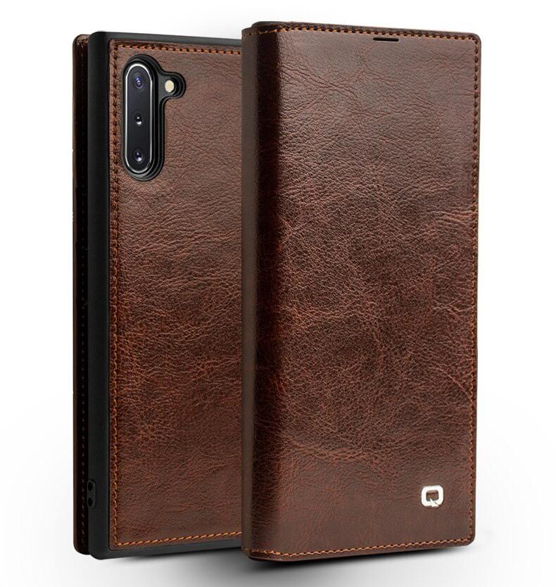 Husa slim din piele fina naturala tip carte, cu buzunar card, Samsung Galaxy Note 10 - Qialino, Maro coffee
