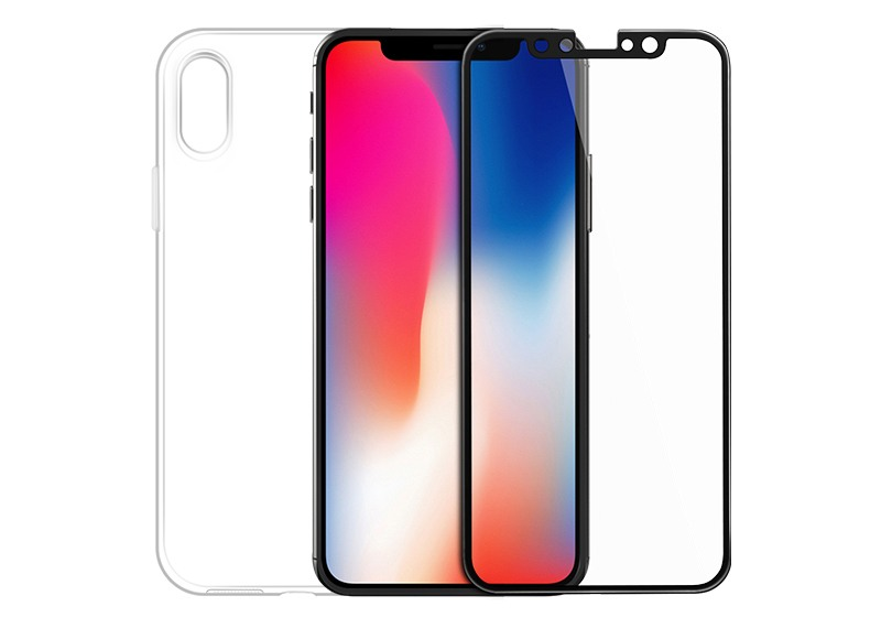 Set husa slim gel TPU + folie din sticla securizata, iPhone X / XS - Hoco,Transparent