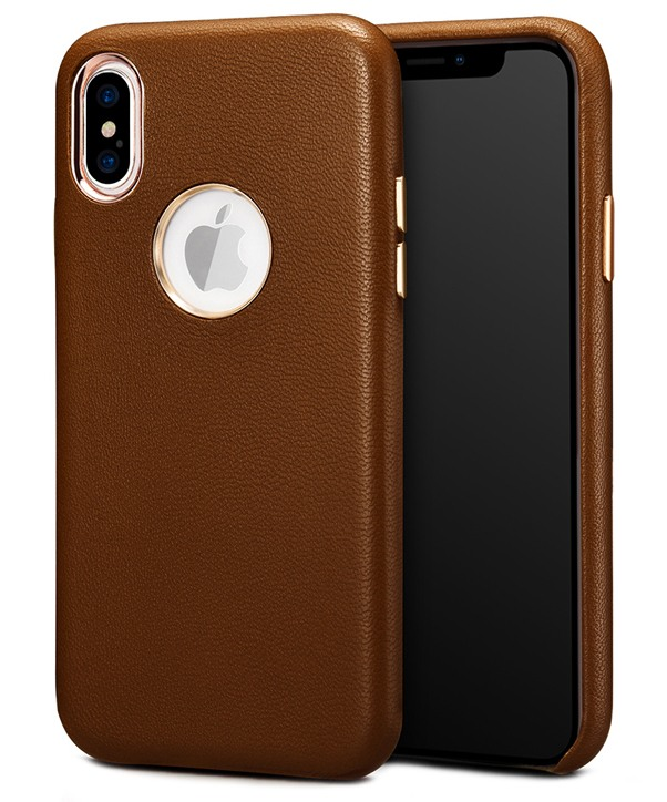 Husa slim, usoara din piele naturala de miel, tip back cover, iPhone X - Xoomz by iCarer Lamb, Maro