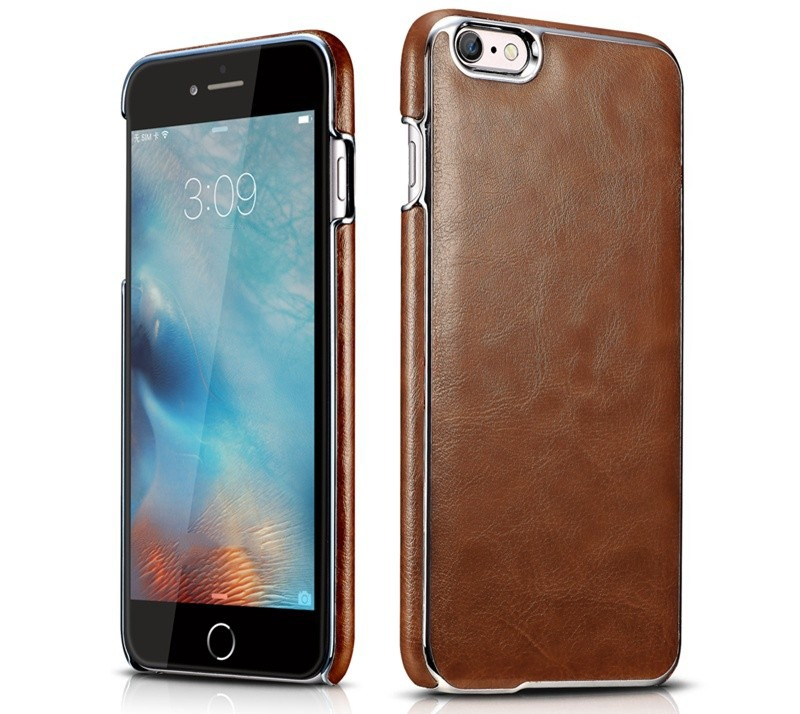 Husa piele, cu ornamente, tip back cover, iPhone 6 / 6s - Xoomz Platinum, Maro coniac