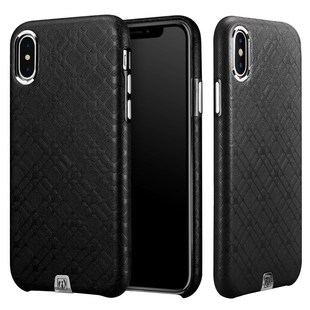 Husa din piele, tip back cover, iPhone X - iCarer Transformers Check Series, Negru