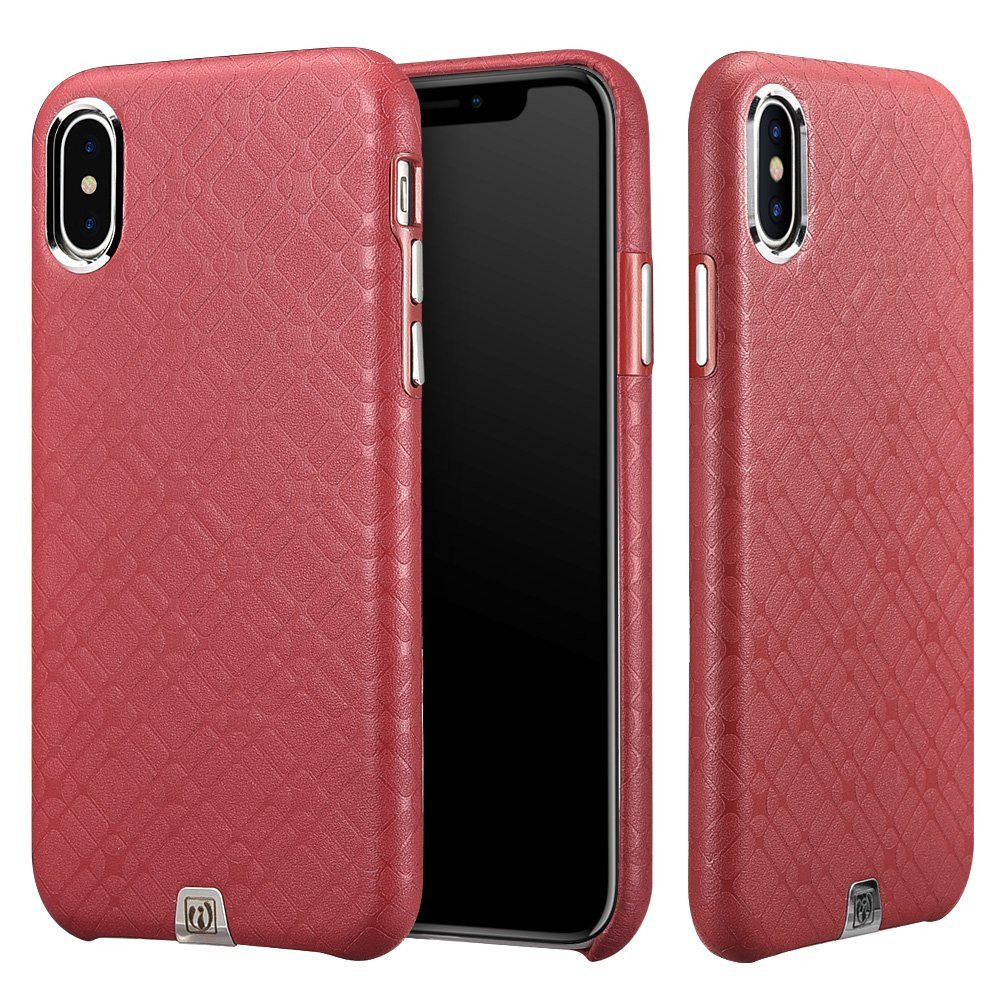 Husa din piele, tip back cover, iPhone X - iCarer Transformers Check Series, Rosu