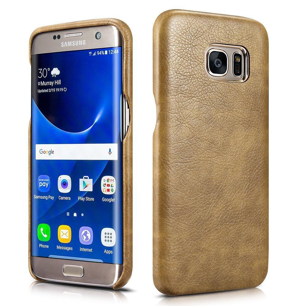 Husa din piele, tip back cover, Samsung Galaxy S7 Edge - Xoomz by iCarer Liquid, Maro