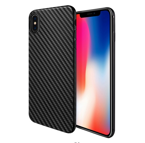 Husa slim din TPU, aspect fibra de carbon, back cover, iPhone X / XS - Hoco, Negru