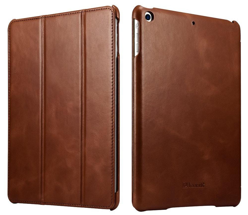 Husa din piele naturala, smart cover, functie stand, iPad 9.7 (iPad 6 / iPad 5) / iPad Air - iCARER Vintage, Maro coniac