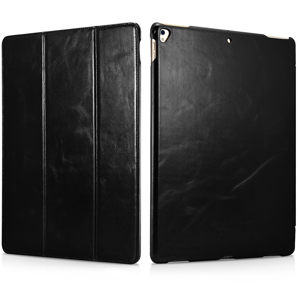 Husa din piele naturala, smart cover, functie stand, iPad Pro 12.9 (2017 / 2015) - iCARER Vintage, Negru