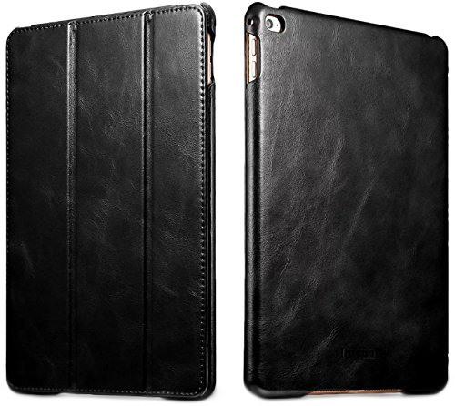 Husa din piele naturala, smart cover, functie stand, iPad Air 2 - iCARER Vintage, Negru