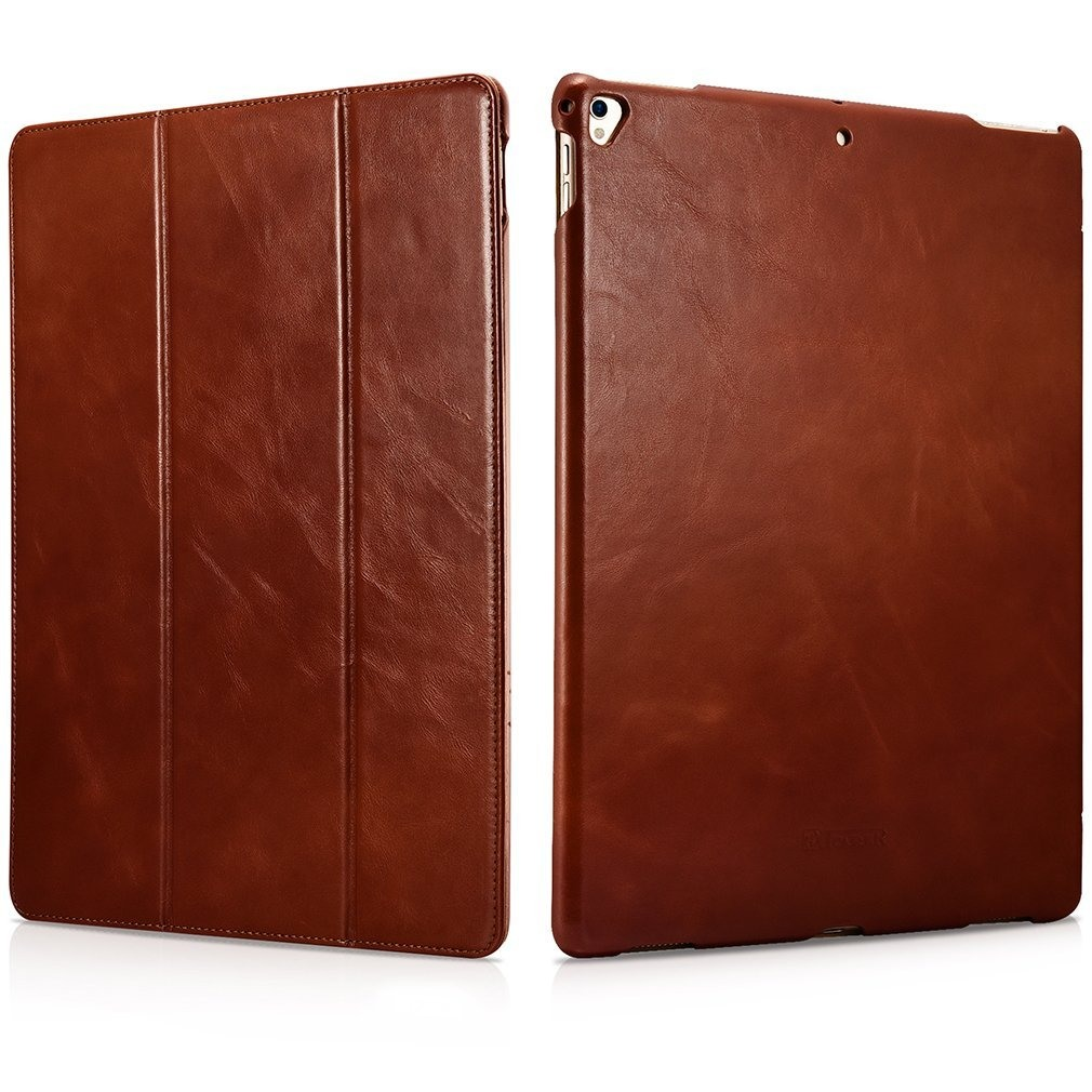 Husa din piele naturala, smart cover, functie stand, iPad Pro 12.9 (2017 / 2015) - iCARER Vintage, Maro coniac