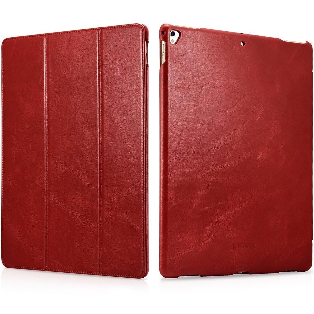 Husa din piele naturala, smart cover, functie stand, iPad Pro 12.9 (2017 / 2015) - iCARER Vintage, Rosu burgund